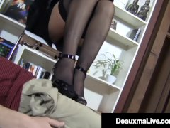 Hosed Big-boobed Cougar Deauxma Foot Pummels A Youthfull Hard Stud!