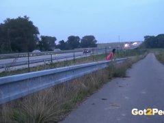 Public Peeing On The Highway For Splendid Brunette