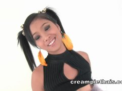 Pigtails Thai teen fucked doggystyle and creampied