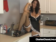 Cock Cleaning Milf Maid Charlee Chase Wipes Cum Off Her Abs!
