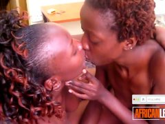 Real African Lesbos Passionately Kissing