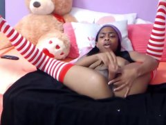 18- Horny Ebony Sexy With Cute Tits Abuses Her Pusy With Wall Dildo
