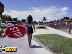BANGBROS - Lil D The Crossing Guard Gets Rose Monroe's Big Ass On His Face