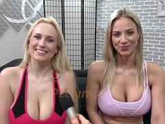 Busty Blondes Compare Their Urinating Skills
