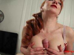 Busty Brit Sandy-haired Cougar Crimson Railing A Cock