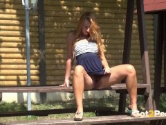 Gorgeous Blonde Pisses From A Picnic Table