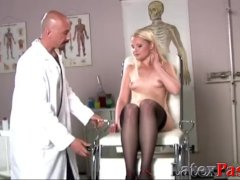 Tight Bootie Of Slender Blondie Crammed By Tricky Medics Yam-sized Cock