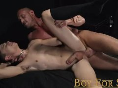 BoyForSale - Young caged slave fucked hard and dominated by hot Dom daddy