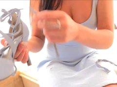 Preciosa anglosajona morena morena blauwe hiel vagina anale inbrenging
