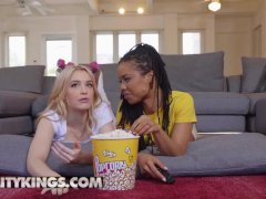 small tit Ebony and white teen bbfs share cock at movie - Reality Kings