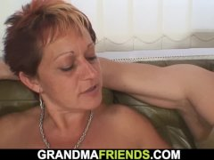 Old shaved pussy mature woman interracial threesome
