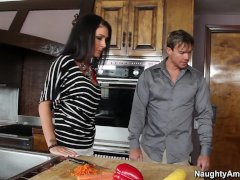 Naughty America Jessica Jaymes Humping In The Counter With Her Piercings