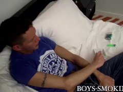 Skinny Amateur Twink Ryan Connors Strokes Jizz-shotgun And Smokes