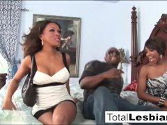 Two ebony brunettes explore each other's hot bodies