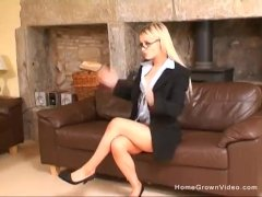 Sexy petite blonde secretary gets pounded hard