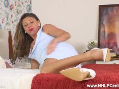 French Milf Chloe strips and fingers herself off in vintage girdle sheer ta