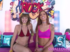 SWALLOWED Double blowjob from Leah Winters and Scarlett Mae