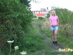 Blonde Peeing In The Field