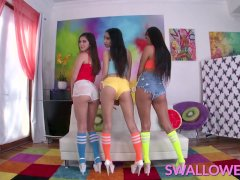 SWALLOWED Sloppy blowjob from Eva, Gianna and Katya