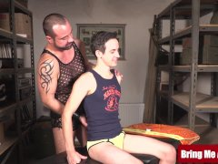 Hairy Dad Barebacked After Pawing Draped Youthfull Twink