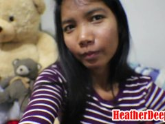 10 Weeks Pregnant Thai Teen Heather Deep gives blowjob and gets cum in mout