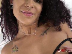 Tattooed Mara Martinez plays with her pierced pussy