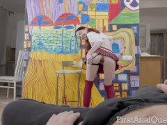Schoolgirl Lottie Magne gets first taste of anal