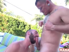 Manalized Tyler Phoenix Swaps Head And Bareback By The Pool