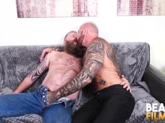 Bearfilms Hunk Marc Angelo Barebacks Inked Grizzly After Rimjob