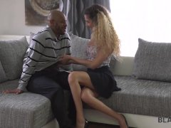 BLACK4K. Girl cleans house to pay bills but black man disturbs her