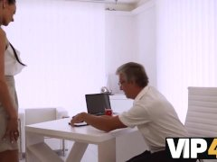 VIP4K. Old and young sex action performed in the white office