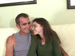 Skinny brunette amateur screws her sugar daddy
