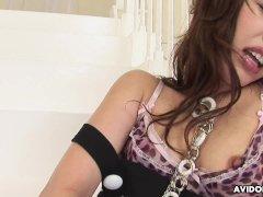 Japanese girl, Rika Nagasawa cums on cam, uncensored