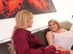 PORNSTARPLATINUM Cherie DeVille and Busty GF Share Dick POV