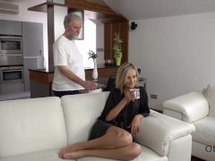 OLD4K. Belle takes part in spontaneous lovemaking with her old hubby