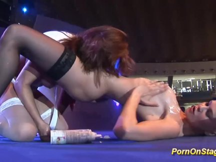 Sex On Public Stage - Hot Lesbians Have Fun At A Sex Show