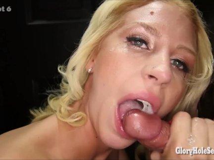 Блондинка девушка видит, сколько спермы она может глотать