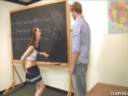 Милые школьница сопляки от ее учитель