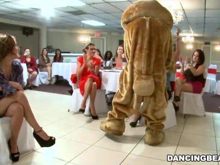 Большой член мужской стриптизерши и пушистый танцы медведь развлекательные женщины