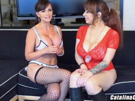 Алисса Линн жить втроем с Каталина Круз на веб-камеру