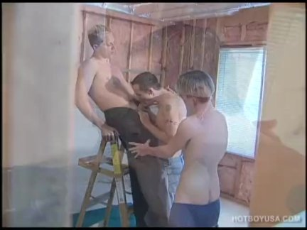 Петух сосёт гей втроем