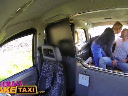 женский поддельный такси Оззи туристических кончает в грудастых блондинок рот после такси трахают