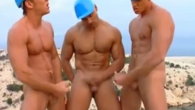 Hot Muscled Guys Bareback Outdoors