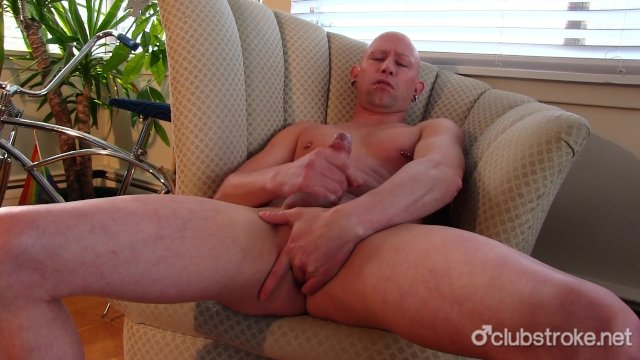Bald Straight Guy Rob Masturbating His Cock