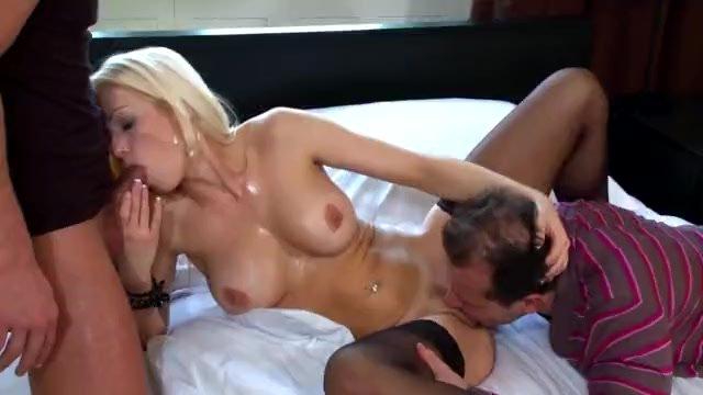 Beautiful blonde fucked in sheer black nylon