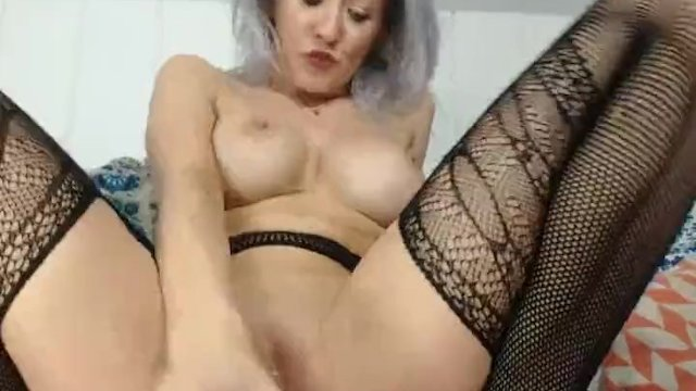 Silver Haired Hottie With Huge Juggs Fuck Her Honeycomb