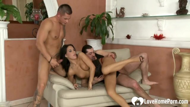 Two horny guys are banging a slutty brunette