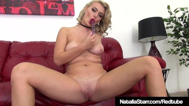 Blonde Beauty Natalia Starr Stuffs Her Tight Pussy & Cums!