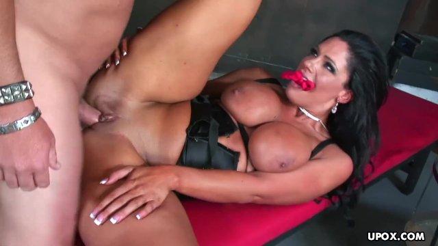 Caged slut Angela Aspen sucks dick and receives hard pounding