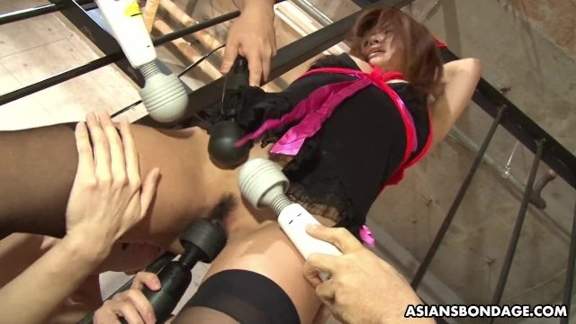 Bound Asian chick got her pussy toyed by horny perverts